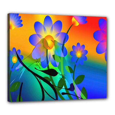 Abstract Flowers Bird Artwork Canvas 24  x 20