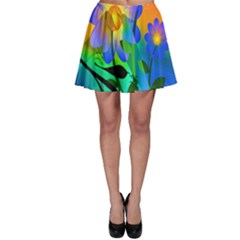 Abstract Flowers Bird Artwork Skater Skirt