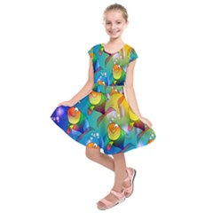 Fish Pattern Kids  Short Sleeve Dress by Nexatart
