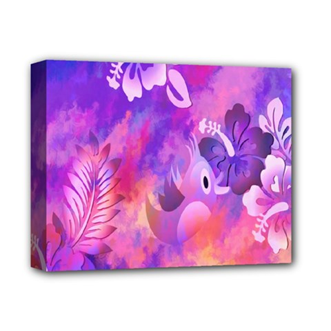 Abstract Flowers Bird Artwork Deluxe Canvas 14  X 11