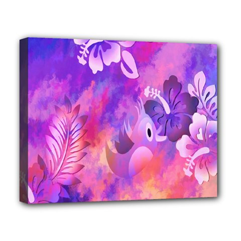Abstract Flowers Bird Artwork Deluxe Canvas 20  X 16   by Nexatart