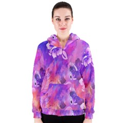 Abstract Flowers Bird Artwork Women s Zipper Hoodie