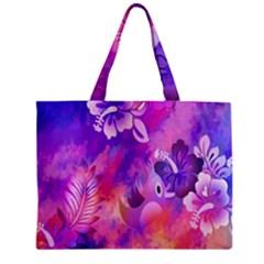 Abstract Flowers Bird Artwork Zipper Mini Tote Bag