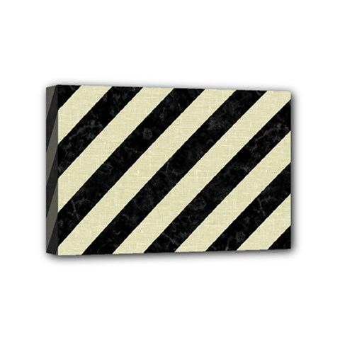 Stripes3 Black Marble & Beige Linen Mini Canvas 6  X 4  (stretched)