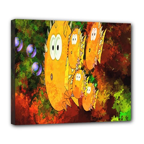 Abstract Fish Artwork Digital Art Deluxe Canvas 24  X 20