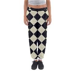 Square2 Black Marble & Beige Linen Women s Jogger Sweatpants by trendistuff