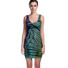 Abstract Background Rainbow Metal Sleeveless Bodycon Dress