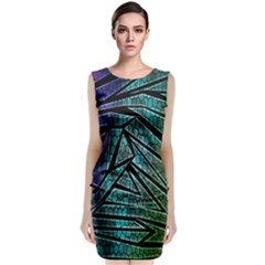 Abstract Background Rainbow Metal Classic Sleeveless Midi Dress