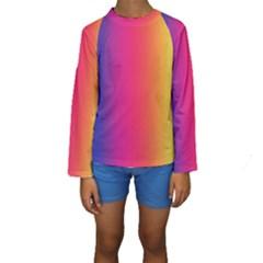 Abstract Rainbow Kids  Long Sleeve Swimwear
