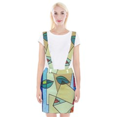 Abstract Art Face Suspender Skirt