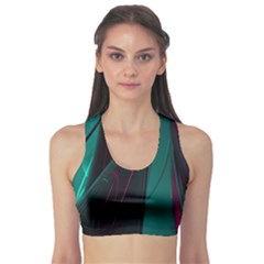Abstract Green Purple Sports Bra