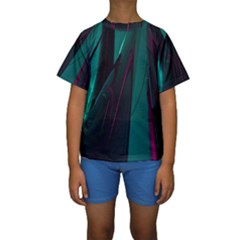 Abstract Green Purple Kids  Short Sleeve Swimwear by Nexatart