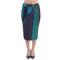 Abstract Green Purple Velvet Midi Pencil Skirt by Nexatart