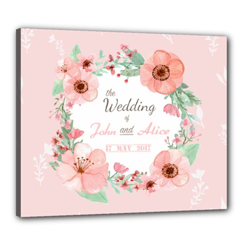flower wedding greeting Canvas 24  x 20  (Framed)