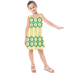 Green Yellow Shapes                      Kid s Sleeveless Dress by LalyLauraFLM