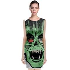 Zombie Face Vector Clipart Classic Sleeveless Midi Dress