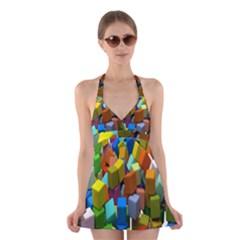 Cubes Assorted Random Toys Halter Swimsuit Dress