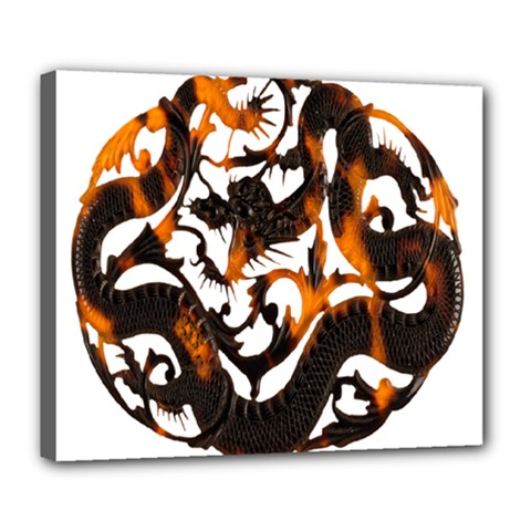 Ornament Dragons Chinese Art Deluxe Canvas 24  X 20