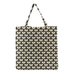 Scales3 Black Marble & Beige Linen (r) Grocery Tote Bag by trendistuff