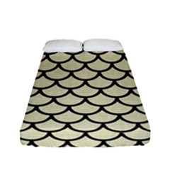 Scales1 Black Marble & Beige Linen (r) Fitted Sheet (full/ Double Size) by trendistuff