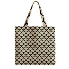 Scales1 Black Marble & Beige Linen (r) Zipper Grocery Tote Bag