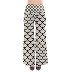 Scales1 Black Marble & Beige Linen (r) So Vintage Palazzo Pants by trendistuff