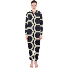 Hexagon2 Black Marble & Beige Linen Hooded Jumpsuit (ladies)