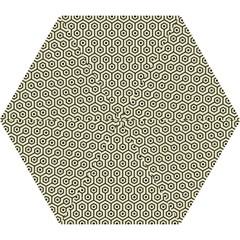 Hexagon1 Black Marble & Beige Linen (r) Mini Folding Umbrella by trendistuff