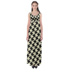 Houndstooth2 Black Marble & Beige Linen Empire Waist Maxi Dress by trendistuff