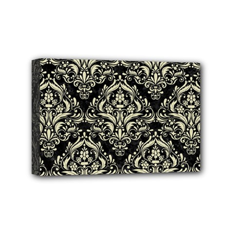Damask1 Black Marble & Beige Linen Mini Canvas 6  X 4  (stretched) by trendistuff