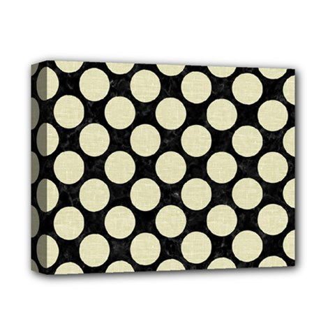 Circles2 Black Marble & Beige Linen Deluxe Canvas 14  X 11  (stretched) by trendistuff