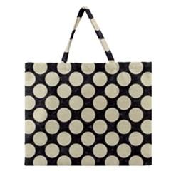 Circles2 Black Marble & Beige Linen Zipper Large Tote Bag by trendistuff