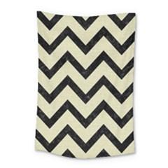 Chevron9 Black Marble & Beige Linen (r) Small Tapestry