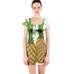 Pineapples Tropical Fruits Foods Short Sleeve Bodycon Dress by Nexatart