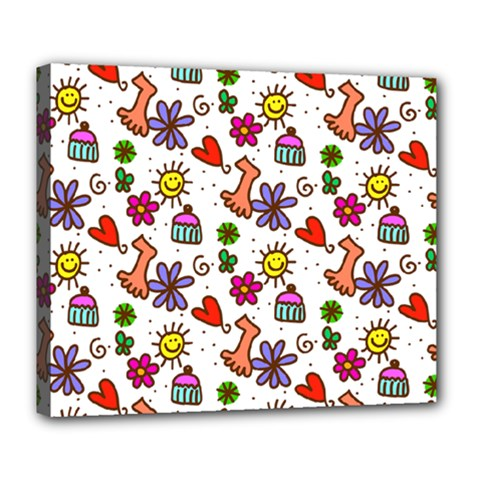 Doodle Pattern Deluxe Canvas 24  X 20