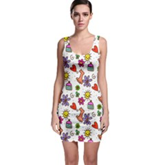 Doodle Pattern Sleeveless Bodycon Dress