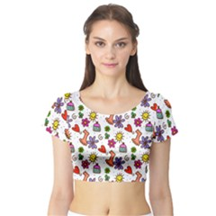 Doodle Pattern Short Sleeve Crop Top (tight Fit)