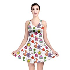Doodle Pattern Reversible Skater Dress
