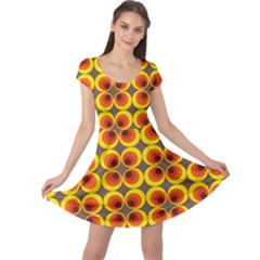 Seventies Hippie Psychedelic Circle Cap Sleeve Dresses
