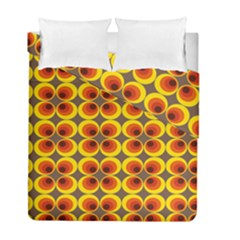 Seventies Hippie Psychedelic Circle Duvet Cover Double Side (full/ Double Size)