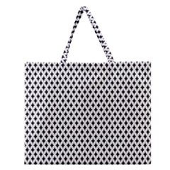 Diamond Black White Shape Abstract Zipper Large Tote Bag by Nexatart