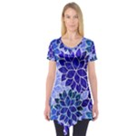 Azurite Blue Flowers Short Sleeve Tunic