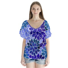 Azurite Blue Flowers Flutter Sleeve Top by KirstenStar