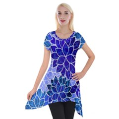 Azurite Blue Flowers Short Sleeve Side Drop Tunic