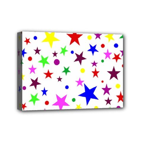 Stars Pattern Background Colorful Red Blue Pink Mini Canvas 7  X 5