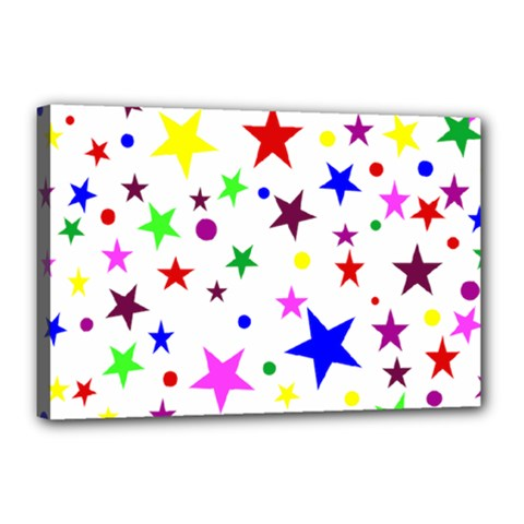 Stars Pattern Background Colorful Red Blue Pink Canvas 18  X 12  by Nexatart