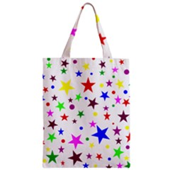 Stars Pattern Background Colorful Red Blue Pink Zipper Classic Tote Bag
