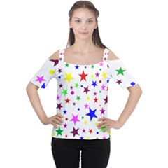 Stars Pattern Background Colorful Red Blue Pink Women s Cutout Shoulder Tee