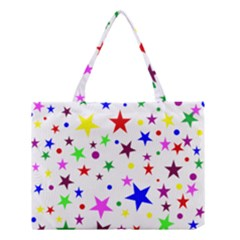 Stars Pattern Background Colorful Red Blue Pink Medium Tote Bag by Nexatart