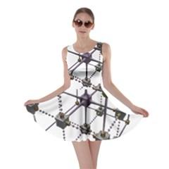 Grid Construction Structure Metal Skater Dress